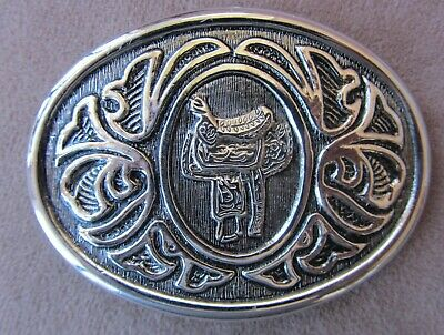 AVON BRAND Silver METAL Western Theme cowboy saddle decor BELT BUCKLE