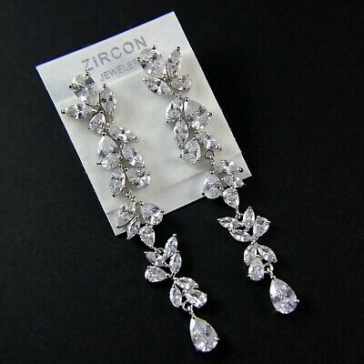 Very Shiny Cubic Zirconia Crystal Flower Drop Wedding Prom Party Earring UK New