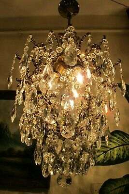 Antique Vnt French Big Cage Style Crystal Chandelier Lamp Lustre 1940's 15in Dmt
