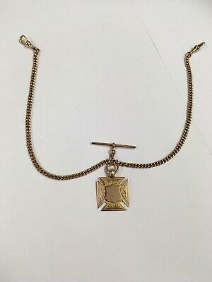 Antique / Vintage 9ct Solid Rose Gold  Double Albert Pocket Watch Chain & Fob