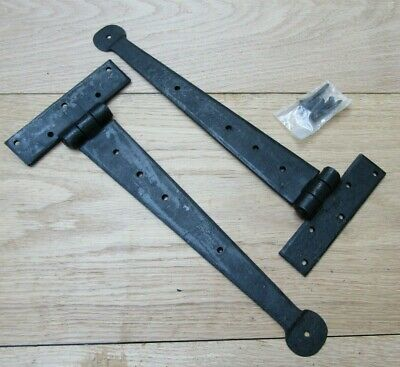 """Pair of PENNY END HAND FORGED door gate tee t hinges English cottage 12"""" BLACK"""