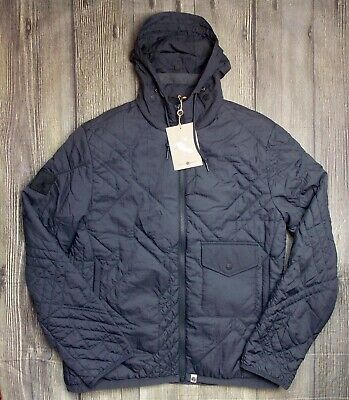 Pretty Green Kirby Quilted Mens Jacket Bnwt Genuine £125 Coat Large L Grey/Blue