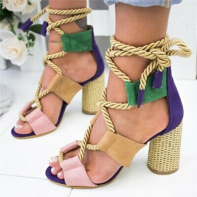 SANDALS Open Toe Ankle Strap High Heels with Strings Blue Yellow Orange Brown