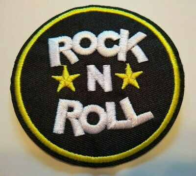 """Rock 'n Roll Music Patch Embroidered Applique~3 1/8"""" Round~US Seller~Ships FREE"""