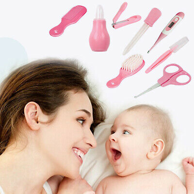 8pcs/set Comb Health Care Baby Grooming Kit Thermometer Tweezers Nail Clippers