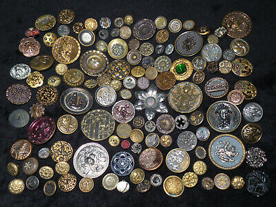 Lot of (124) Antique Victorian Brass Cut Steel Animal Floral Picture Buttons