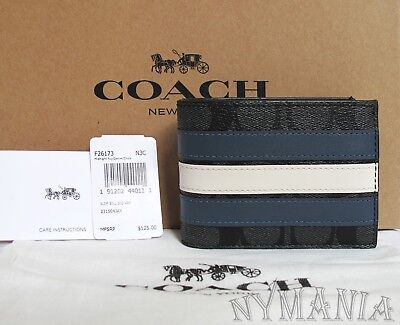 New Coach Men F26171  F26173 SLIM BILLFOLD WALLET WITH VARSITY STRIPE