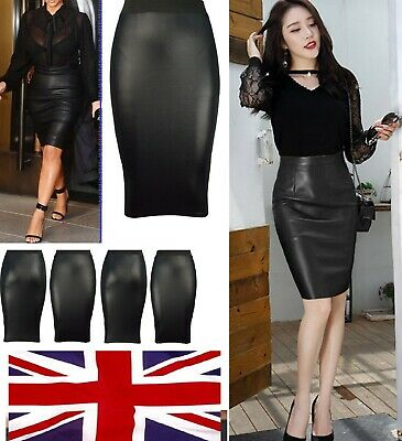 Women Ladies Plus Size  Look Faux Leather Pencil Stretch  Skirt 8 to 26 Wet Midi