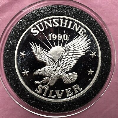 1990 Sunshine Mining Mint Eagle 1/2 Troy Oz .999 Fine Silver Round Proof Coin