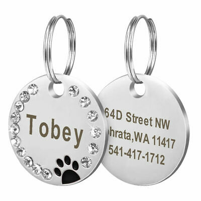 🔥 Personalised Engraved Glitter Paw Print Tag Dog Cat Pet ID Tags Rhinestone