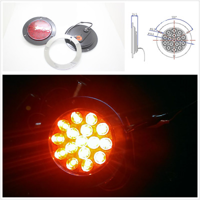 Red LED Round Reverse Stop Rear Tail Light Truck Trailer Brake Turn Signal Lamp