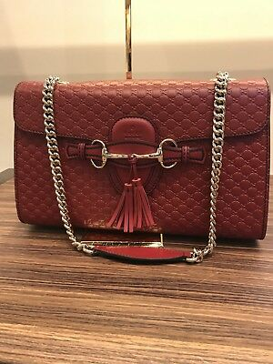 96e9459e54 BNWT Authentic Gucci Emily Guccissima Leather Chain Shoulder Bag Red