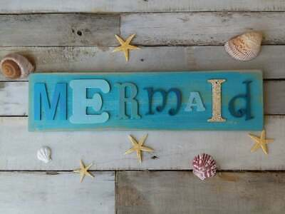 Reclaimed Wood Art Mermaid And Octopus Sign Hand Made 20000