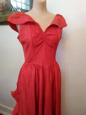 Vintage 1930s 40s Orange Ombre Fade Dress Acetate Prom Party Dress Gown