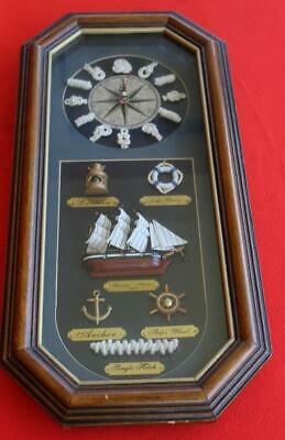 Vintage Nautical Themed ~ Wooden Shadow Box ~ Wall Clock ~ Non-working ~ CHEAP