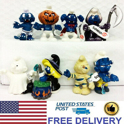 The Smurfs Cute Smurf Cartoon 8 PCS Action Figure Doll Cake Topper Kids Gift Toy
