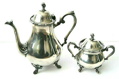 Antique Wilcox Joanne Silver Plate Coffee Tea Pot 7201 Sugar Bowl w/ Lid 7203