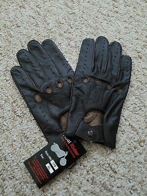 Men's Driving Distress Brown leather Gloves  Size XL