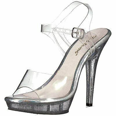 90ee70a4de FABULICIOUS LIP-108MG Shoes Open Toe High Heel Glitter Ankle Strap Sandals  Clear