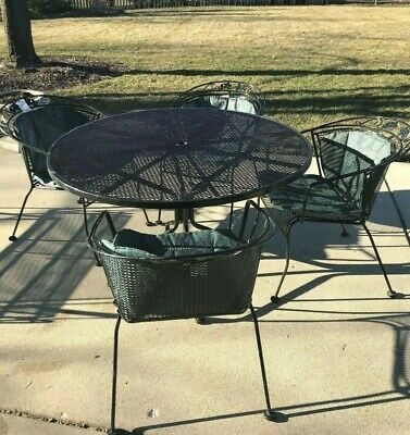 """Woodard Wrought Iron 48"""" Round Umbrella Patio Table w 4 Chairs + Chaise Lounge"""