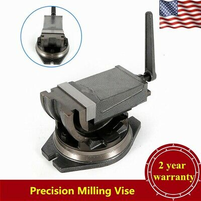 "5"" Precision Milling Vise Swivel Base Angle Tilting 2 Way Clamp Vise Heavy Duty"