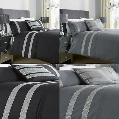 Diamante Glitz Duvet Quilt Cover Bedding Set, Black Charcoal In All Sizes UK.