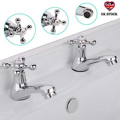 Traditional Faucets Classic Cross Basin Sink Pillar Taps Pair Victorian Victoria