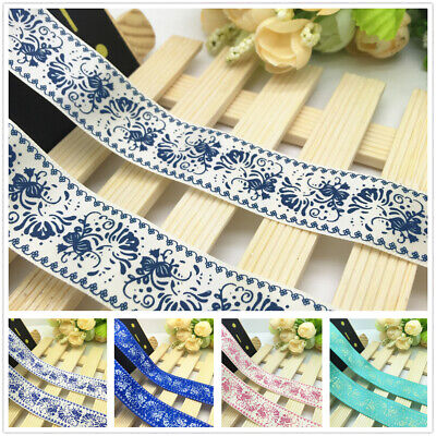 NEW DIY 5 Yards 1'' 25mm Flower Printed Grosgrain Ribbon Hair Bow Sewing Craft
