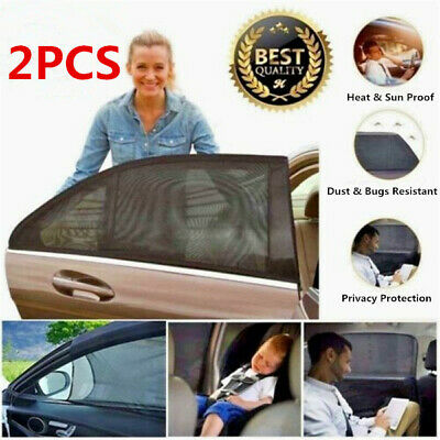 2pcs Car Size Rear Window Anti-UV Mesh Blind Sun Shade Sunshade Blocker Cover