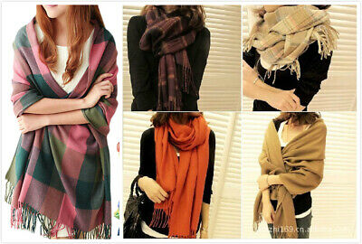 AU SELLER Winter Warm Tartan Plaids Pashmina Check Solid Wrap SCARF/SHAWL SC085