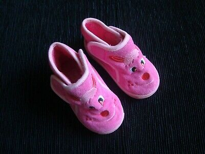 Baby clothes GIRL 2 years + size 21 bright pink,easy fix,rubber soles slippers