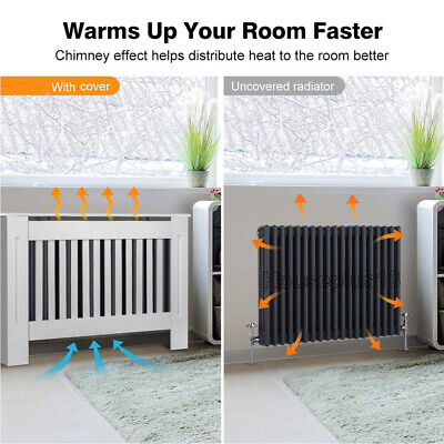 Medium White Radiator Cover Wooden MDF Wall Cabinet Shelf Slatted Grill York New