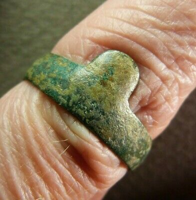 Ancient Genuine French Copper Wedding Ring Artifact ca.19th Century AD size 8.5