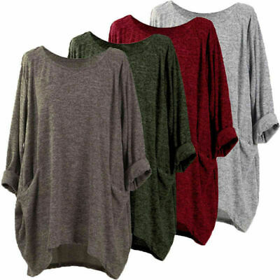 AU Women Casual Long Sleeve Plus Size Pullover T-Shirt Tee Top Tunic Blouse