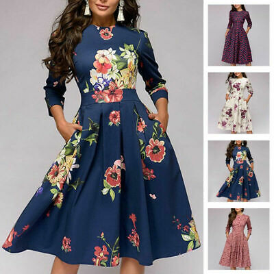 Women Winter A-line Dress Party Retro Floral Long Sleeve Print Midi Dress 10-18