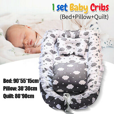 New Baby Sleep Nest Bed Pillow Quilt Boys Girls Breathable Cotton Sleeping Gift
