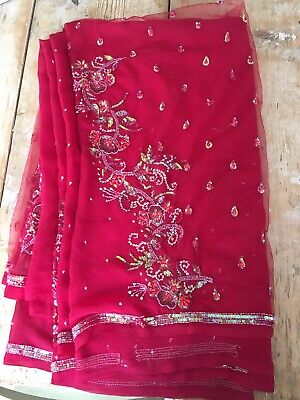 Beautiful Red Sari with sequins, with blouse attached