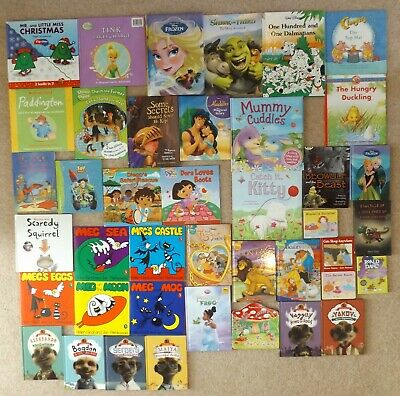 Girls Books Bundle Job Lot Disney Meg And Mog Meerkat Dora Frozen Shrek Mr. Men