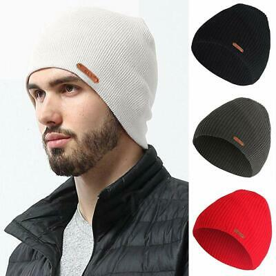 Mens Daily Winter Beanie Solid Straight Fit Unisex Hat Womens Girls