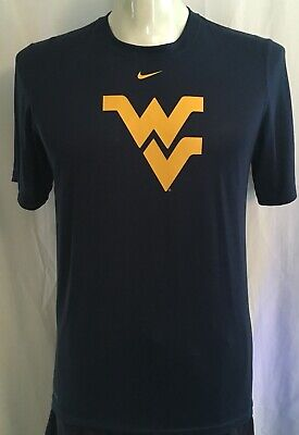 c790f300 Nike DriFit WVU West Virginia Mountaineers Flying WV Blue Logo TShirt NCAA  Men S