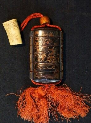 Antique Japanese Inro lacquered medicine box 1800s Japanese lacquer craft