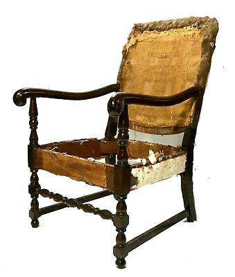 Period William & Mary Chair Armchair 18th Century Scrolled, Turnings, (c.1710)
