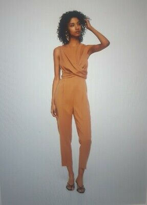 Mango womens clothing wrap neckline jumpsuit, Size S, BRAND NEW with tags