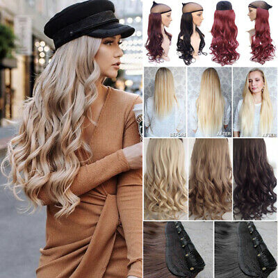 UK Real Long Clip in Hair Extensions One Piece Full Head Straight Curly As Human