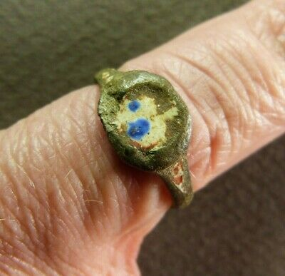 Roman Bronze Finger Ring Bezel with Colored Glass 2nd-3rd century AD Size 5 1/2