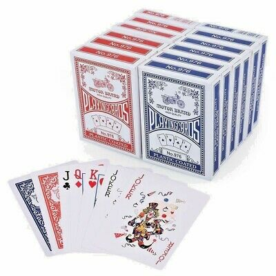 Playing Cards Poker Size Decks of Professional Plastic Coated Blue/Red Colours