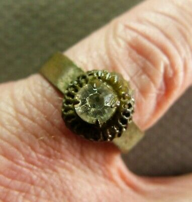 Ancient French Copper Ring with Stone - Artifact ca.early 20th Century AD size 8