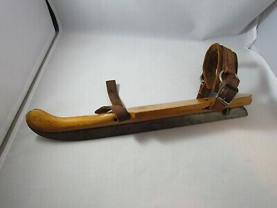 One Antique Vintage Wooden Ice Skate AMPIOENSCHAATS with leather strap