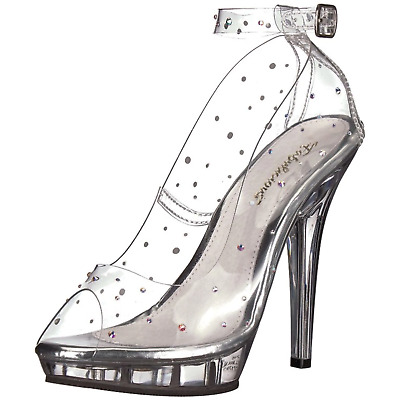 685a25fe239 FABULICIOUS LIP-183 SHOES Ankle Strap Pump Bridal Prom Peep Toe High Heel  Clear