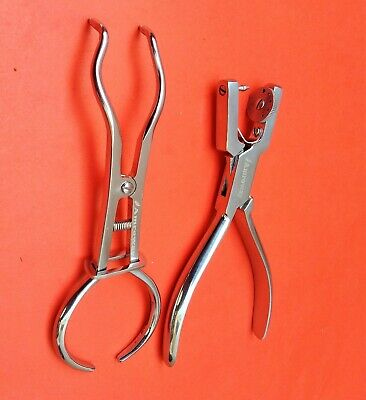 Basic Dental Rubber Dam Set Endodontic Brewer Clamps Ainsworth Punch Hole Plier